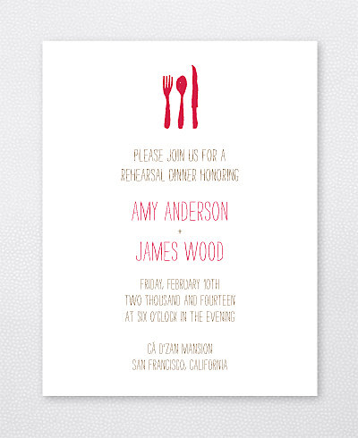 Big Day California Letterpress Rehearsal Dinner Invitation