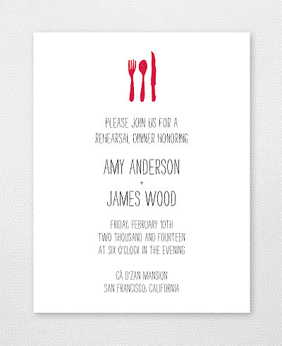 Big Day Hearts Letterpress Rehearsal Dinner Invitation