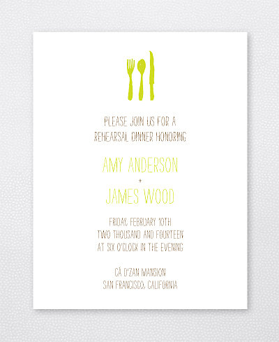 Big Day Oak Letterpress Rehearsal Dinner Invitation