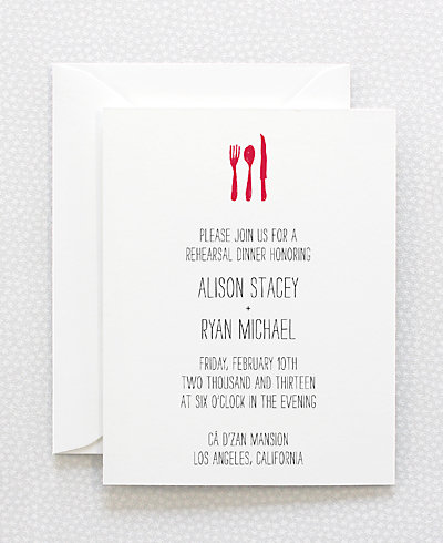 Big Day Letterpress Rehearsal Dinner Invitation
