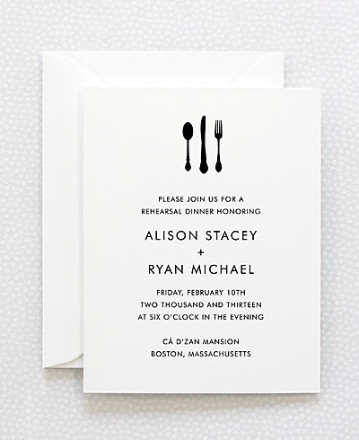 Skyline Letterpress Rehearsal Dinner Invitation