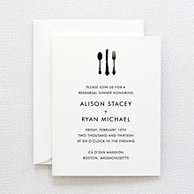 Skyline: Letterpress Rehearsal Dinner Invitation