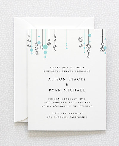 Chandelier Letterpress Rehearsal Dinner Invitation