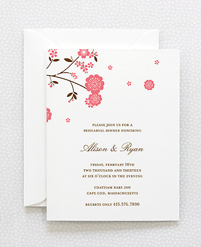 Cherry Blossom Letterpress Rehearsal Dinner Invitation