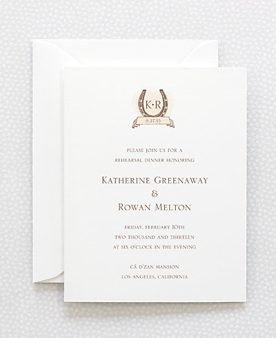 Elegant Equestrian Rehearsal Dinner Invitation