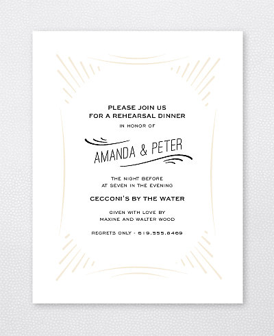 Flourish Letterpress Rehearsal Dinner Invitation