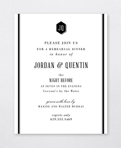 Havana Letterpress Rehearsal Dinner Invitation