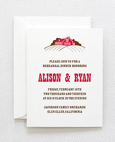 Heartland Letterpress Rehearsal Dinner Invitation