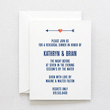 Hearts and Arrows: Letterpress Rehearsal Dinner Invitation
