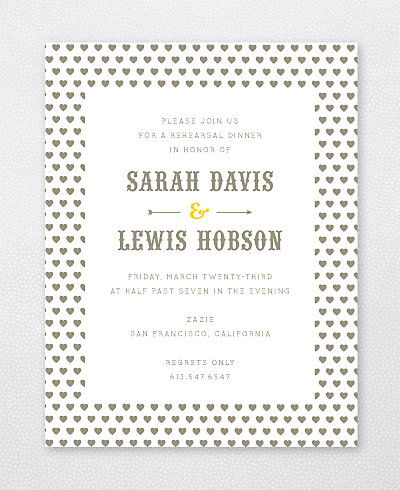 Lemonade Stand Letterpress Rehearsal Dinner Invitation