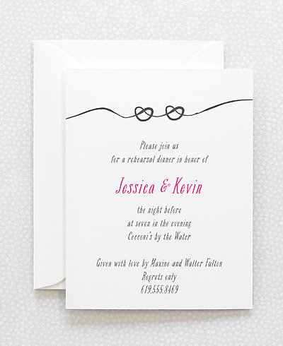Love Knot Letterpress Rehearsal Dinner Invitation