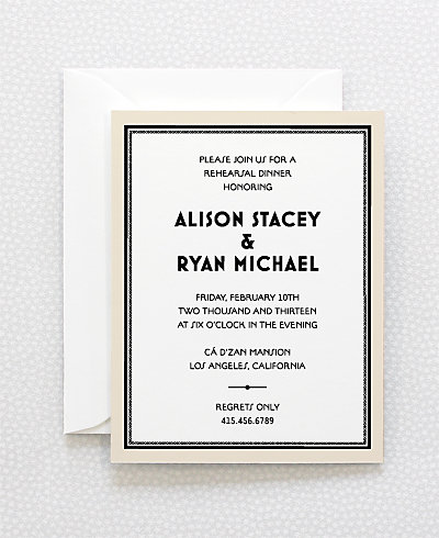 Marquee Letterpress Rehearsal Dinner Invitation