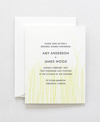 Meadow Letterpress Rehearsal Dinner Invitation