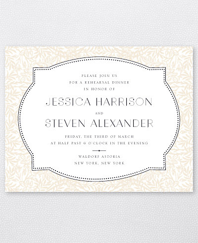 Morris Letterpress Rehearsal Dinner Invitation