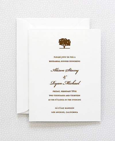 Oak Letterpress Rehearsal Dinner Invitation