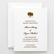 Oak: Letterpress Rehearsal Dinner Invitation