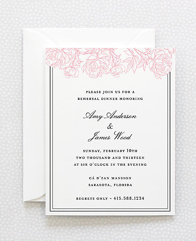 Peonies Letterpress Rehearsal Dinner Invitation