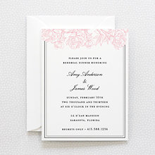Peonies: Letterpress Rehearsal Dinner Invitation