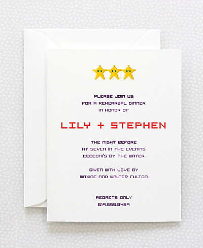 Pixel Perfect Rehearsal Dinner Invitation