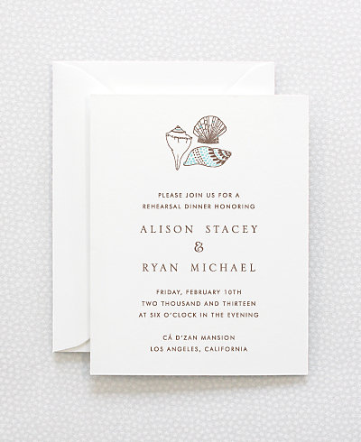 Seashore Letterpress Rehearsal Dinner Invitation