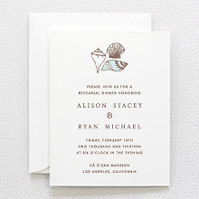 Seashore: Letterpress Rehearsal Dinner Invitation