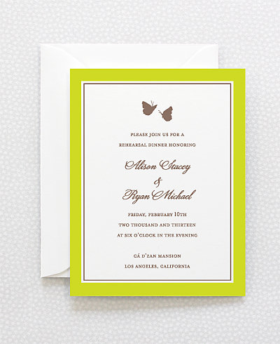 Shangri-la Letterpress Rehearsal Dinner Invitation