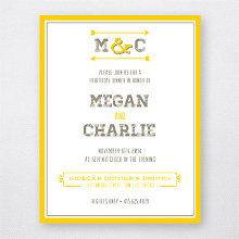 Shields and Arrows: Letterpress Rehearsal Dinner Invitation