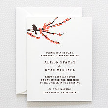 Sparrows: Letterpress Rehearsal Dinner Invitation