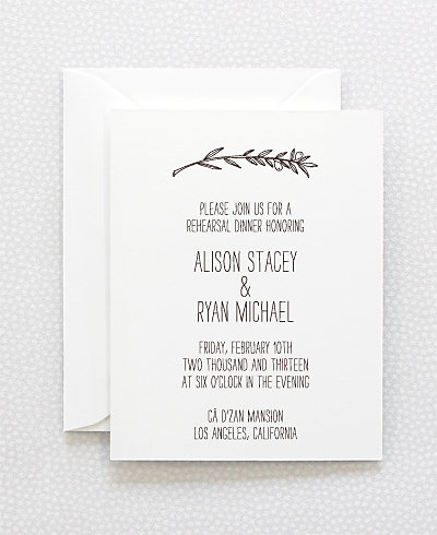 Tuscany Letterpress Rehearsal Dinner Invitation