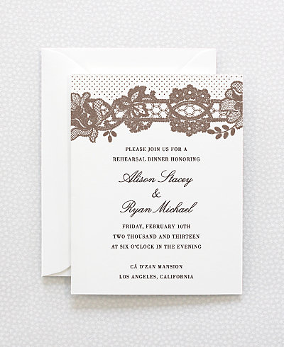 Vintage Lace Letterpress Rehearsal Dinner Invitation