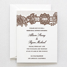 Vintage Lace: Letterpress Rehearsal Dinner Invitation