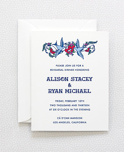 Vintage Tattoo Rehearsal Dinner Invitation