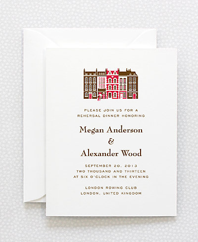 Visit London Letterpress Rehearsal Dinner Invitation