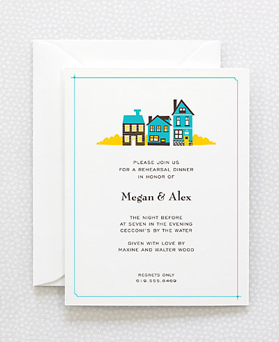 Visit Martha's Vineyard Letterpress Rehearsal Dinner Invitation