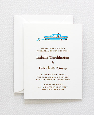 Visit New York Letterpress Rehearsal Dinner Invitation