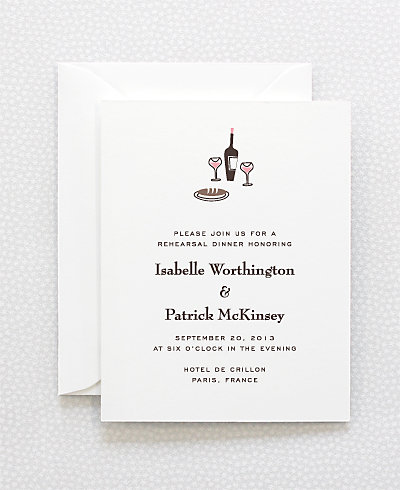 Visit Paris Letterpress Rehearsal Dinner Invitation