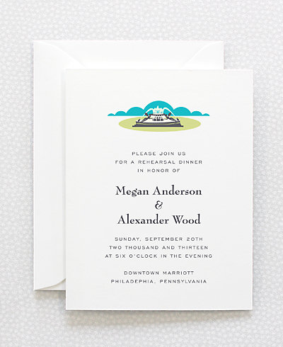 Visit Philadelphia Letterpress Rehearsal Dinner Invitation