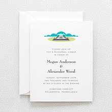 Visit Philadelphia: Letterpress Rehearsal Dinner Invitation