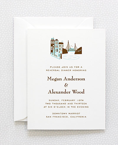 Visit San Francisco Letterpress Rehearsal Dinner Invitation