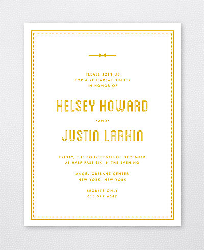 Parker Foil/Letterpress Rehearsal Dinner Invitation