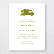 Portland Skyline: Letterpress Rehearsal Dinner Invitation