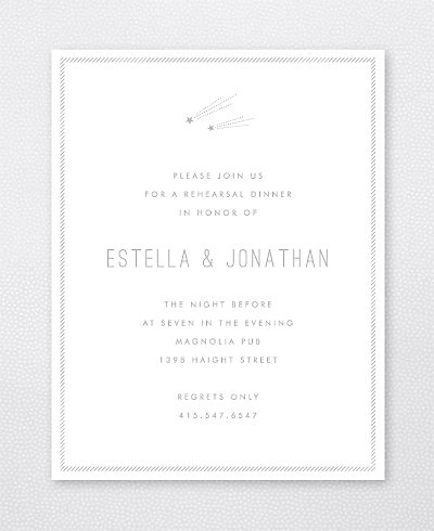 Shooting Star Foil/Letterpress Rehearsal Dinner Invitation