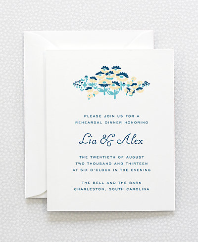 Secret Garden Letterpress Rehearsal Dinner Invitation