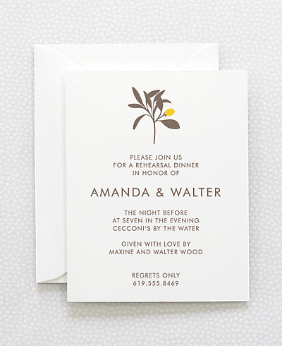 Tropic Letterpress Rehearsal Dinner Invitation