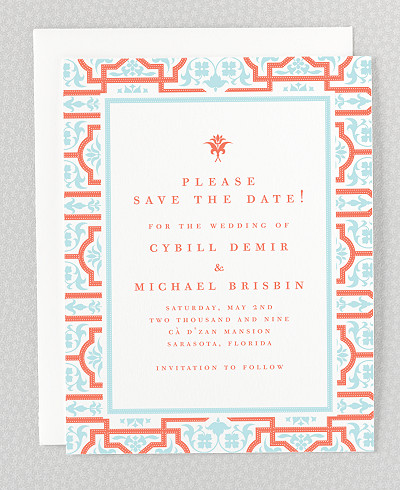 Architecture Letterpress Save the Date Card
