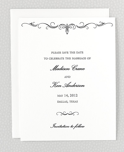 Biltmore Letterpress Save the Date Card