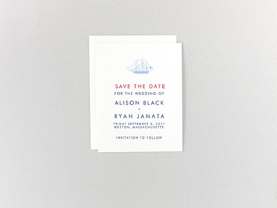 Boston Skyline Save the Date Card