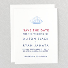Boston Skyline: Letterpress Save the Date