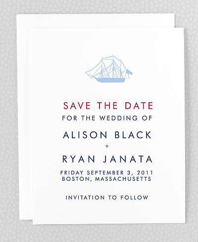 Boston Skyline Letterpress Save the Date Card