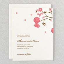 Cherry Blossom: Letterpress Save the Date